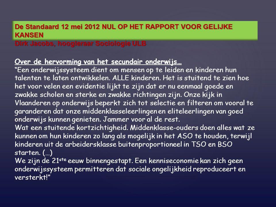 De Standaard 12 mei 2012 NUL OP HET RAPPORT VOOR GELIJKE KANSEN