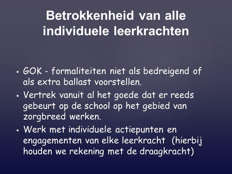 Betrokkenheid van alle individuele leerkrachten