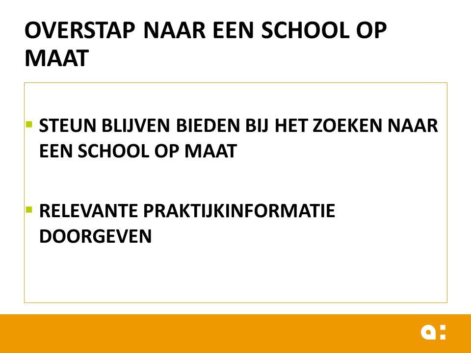 OVERSTAP NAAR EEN SCHOOL OP MAAT