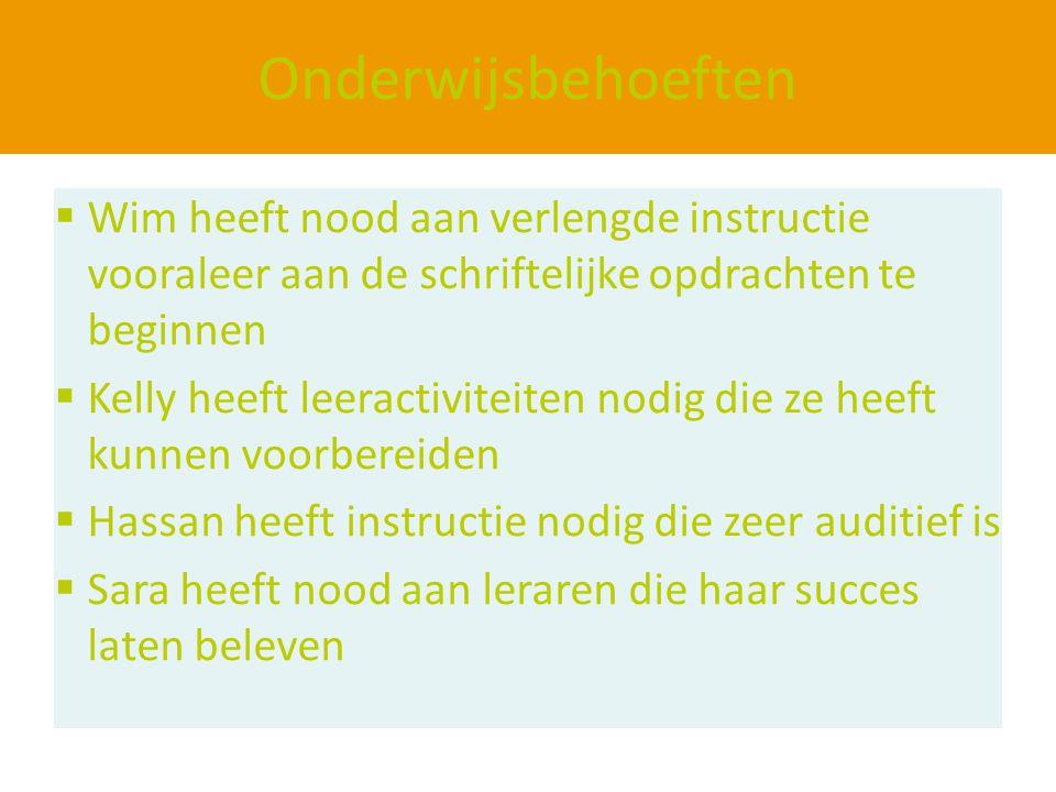 Onderwijsbehoeften Wim heeft nood aan verlengde instructie vooraleer aan de schriftelijke opdrachten te beginnen.