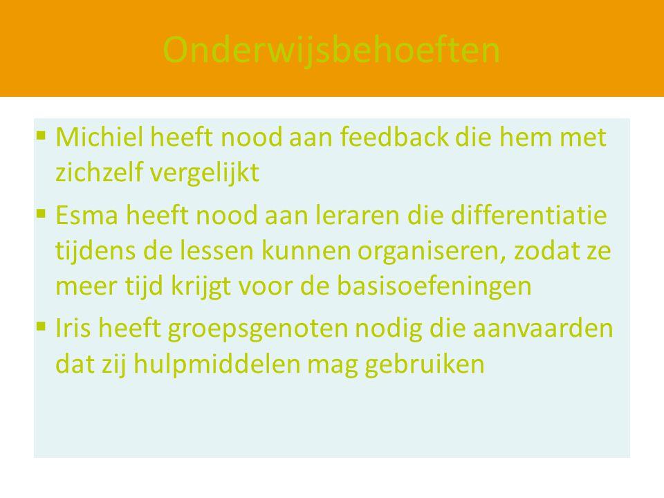 Onderwijsbehoeften Michiel heeft nood aan feedback die hem met zichzelf vergelijkt.