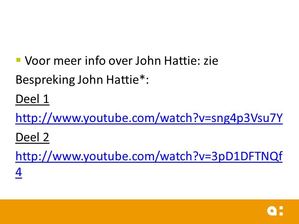 Voor meer info over John Hattie: zie