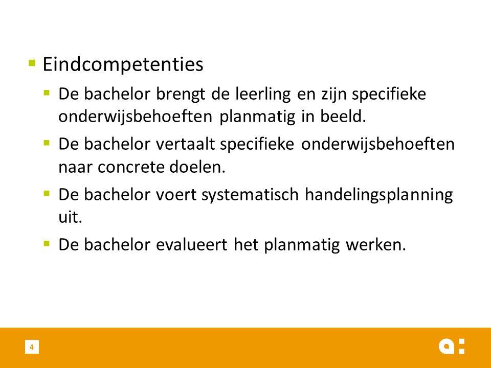 Eindcompetenties De bachelor brengt de leerling en zijn specifieke onderwijsbehoeften planmatig in beeld.