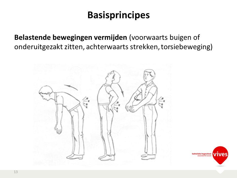 Basisprincipes Belastende bewegingen vermijden (voorwaarts buigen of onderuitgezakt zitten, achterwaarts strekken, torsiebeweging)