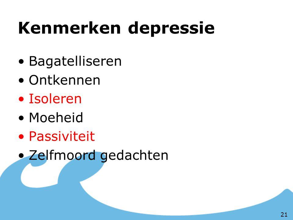 Kenmerken depressie Bagatelliseren Ontkennen Isoleren Moeheid