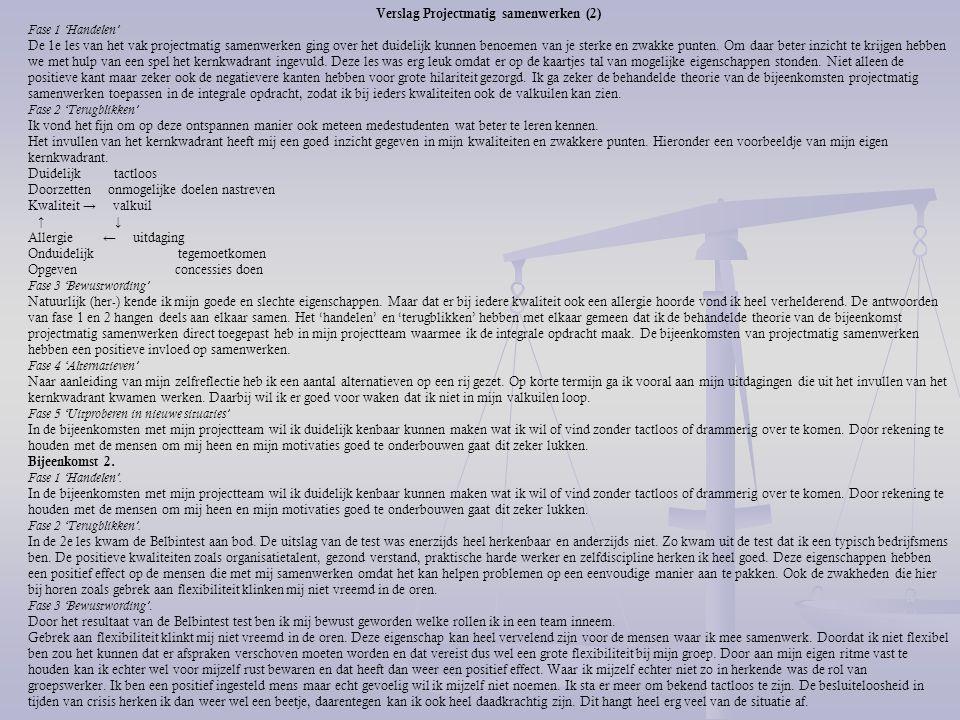 Verslag Projectmatig samenwerken (2)