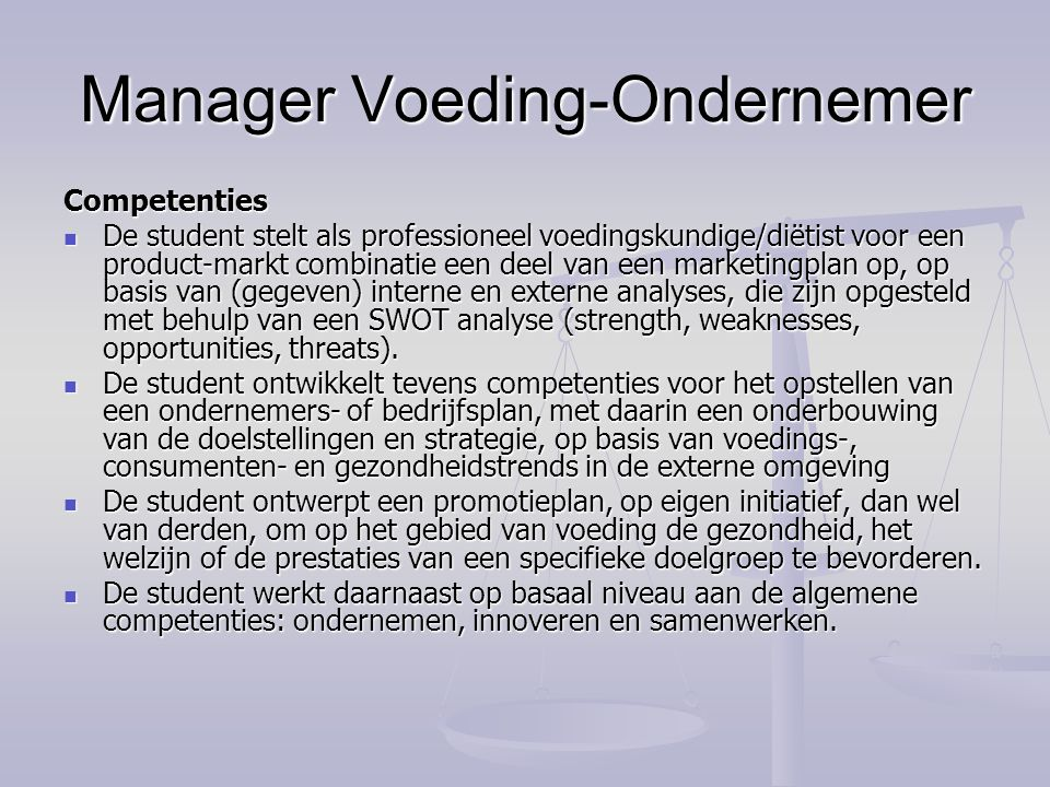 Manager Voeding-Ondernemer