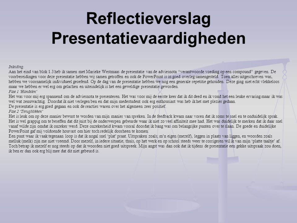 Reflectieverslag Presentatievaardigheden