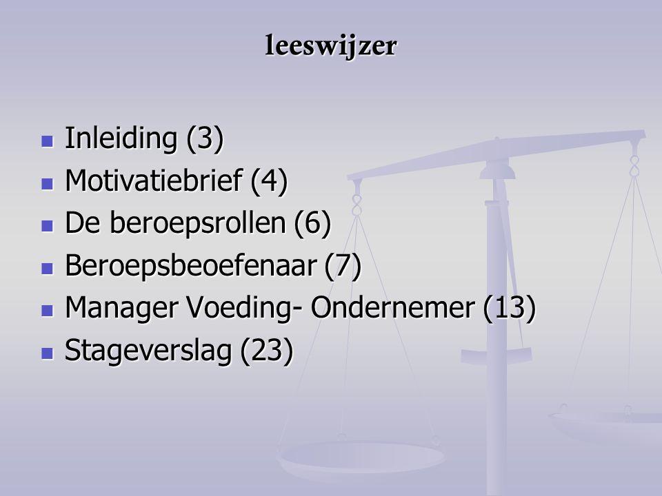 leeswijzer Inleiding (3) Motivatiebrief (4) De beroepsrollen (6) Beroepsbeoefenaar (7) Manager Voeding- Ondernemer (13)