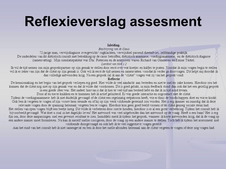 Reflexieverslag assesment