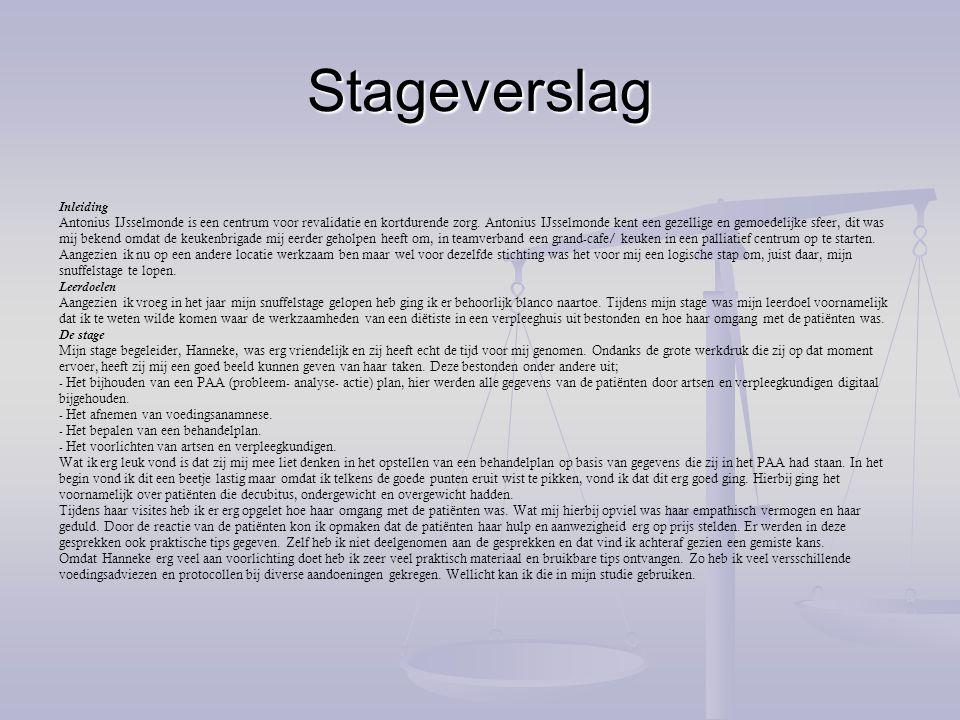 Inleiding Stageverslag voorbeeld pdf