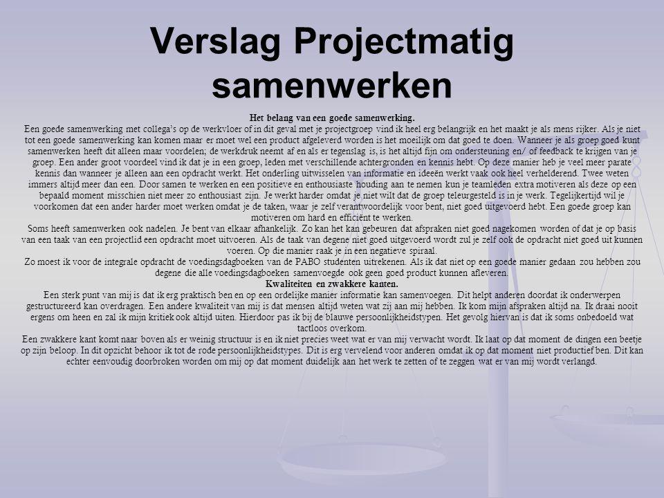 Verslag Projectmatig samenwerken