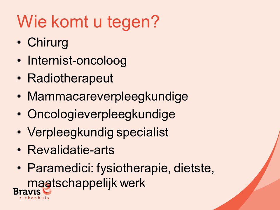 Wie komt u tegen Chirurg Internist-oncoloog Radiotherapeut