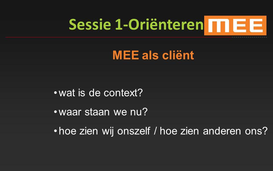 Sessie 1-Oriënteren MEE als cliënt wat is de context