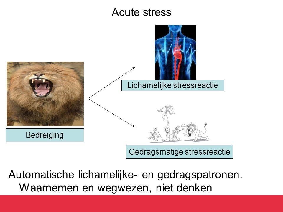 Acute stress Lichamelijke stressreactie. Bedreiging.