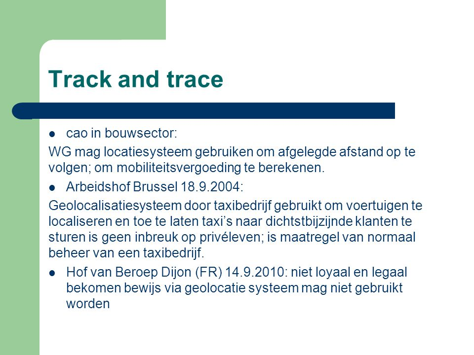 Track and trace cao in bouwsector: