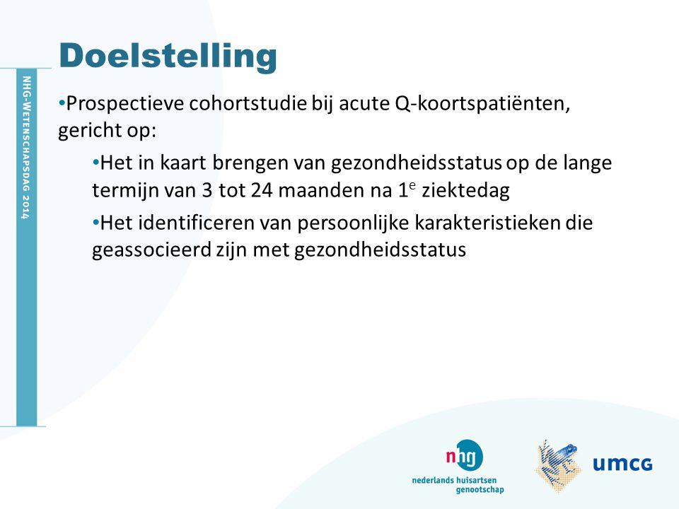Doelstelling Prospectieve cohortstudie bij acute Q-koortspatiënten, gericht op: