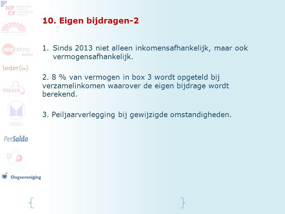 10. Eigen bijdragen-2 Sinds 2013 niet alleen inkomensafhankelijk, maar ook vermogensafhankelijk.