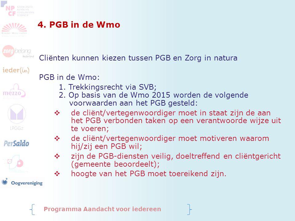 4. PGB in de Wmo Cliënten kunnen kiezen tussen PGB en Zorg in natura