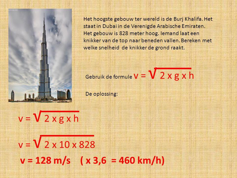 v = √ 2 x g x h v = √ 2 x 10 x 828 v = 128 m/s ( x 3,6 = 460 km/h)