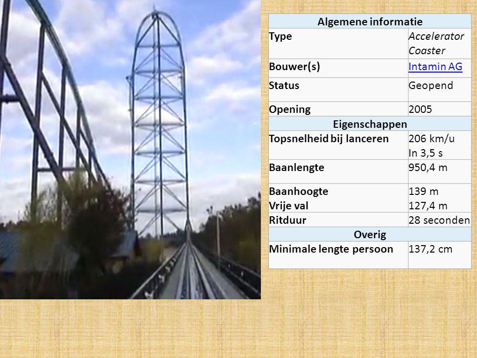 Algemene informatie Type. Accelerator Coaster. Bouwer(s) Intamin AG. Status. Geopend. Opening.