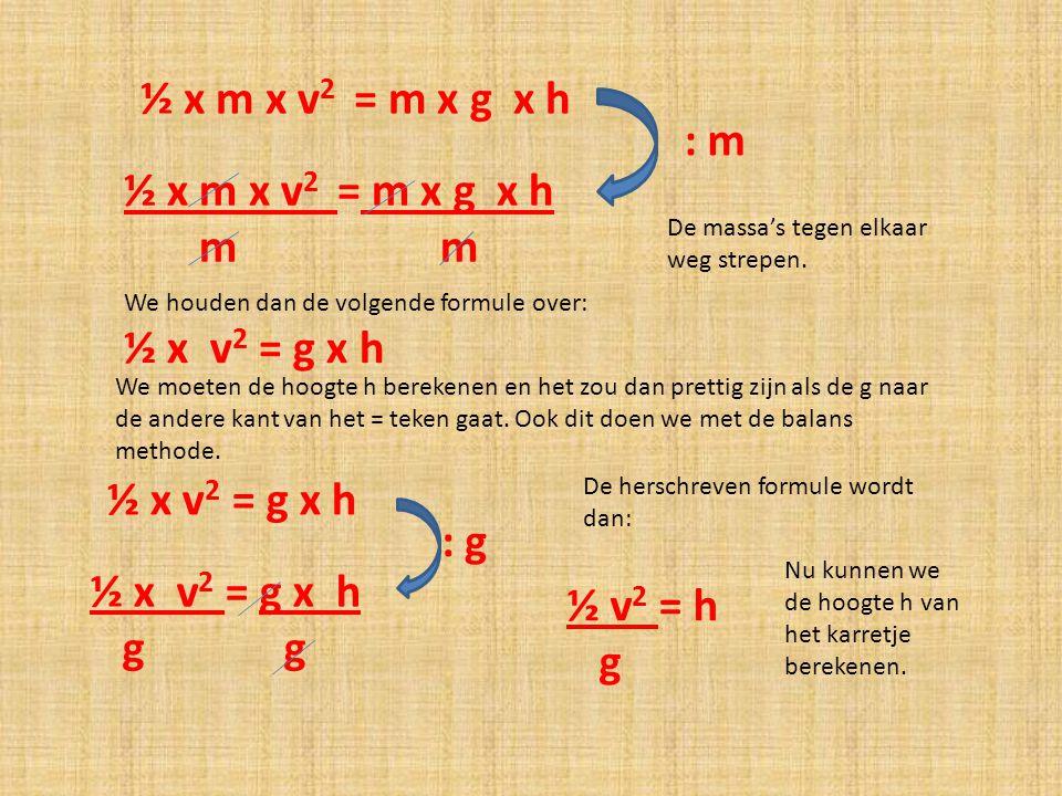 ½ x m x v2 = m x g x h : m ½ x m x v2 = m x g x h m m ½ x v2 = g x h