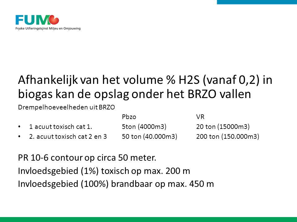 Afhankelijk van het volume % H2S (vanaf 0,2) in biogas kan de opslag onder het BRZO vallen