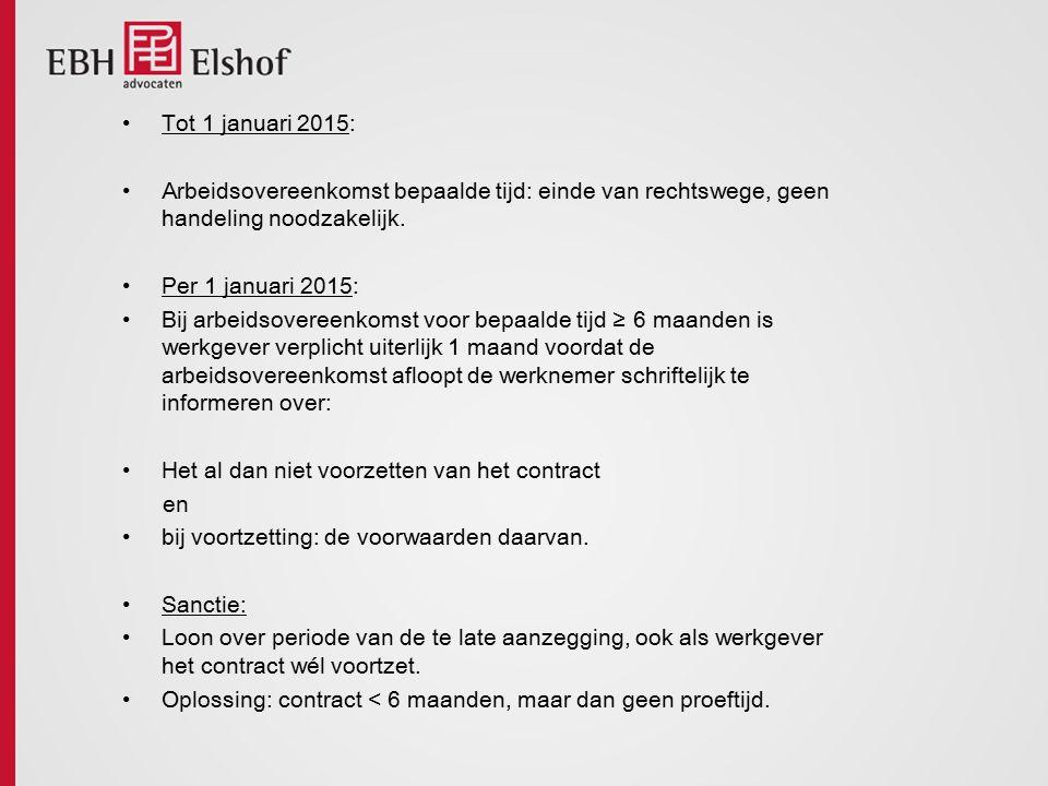 Tot 1 januari 2015: Arbeidsovereenkomst bepaalde tijd: einde van rechtswege, geen handeling noodzakelijk.