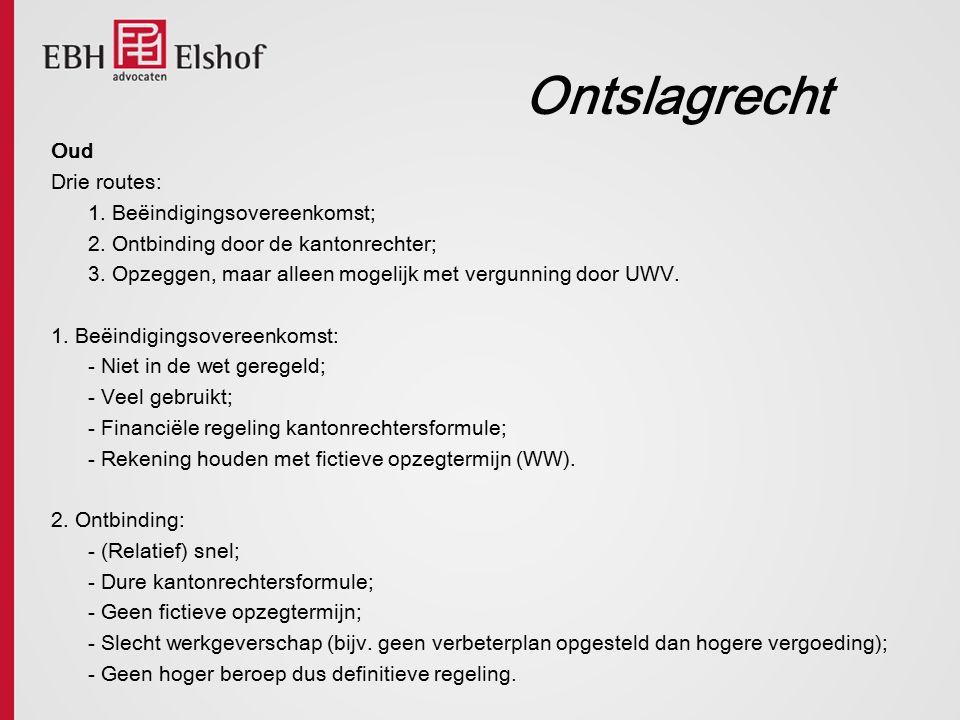 Ontslagrecht Oud Drie routes: 1. Beëindigingsovereenkomst;