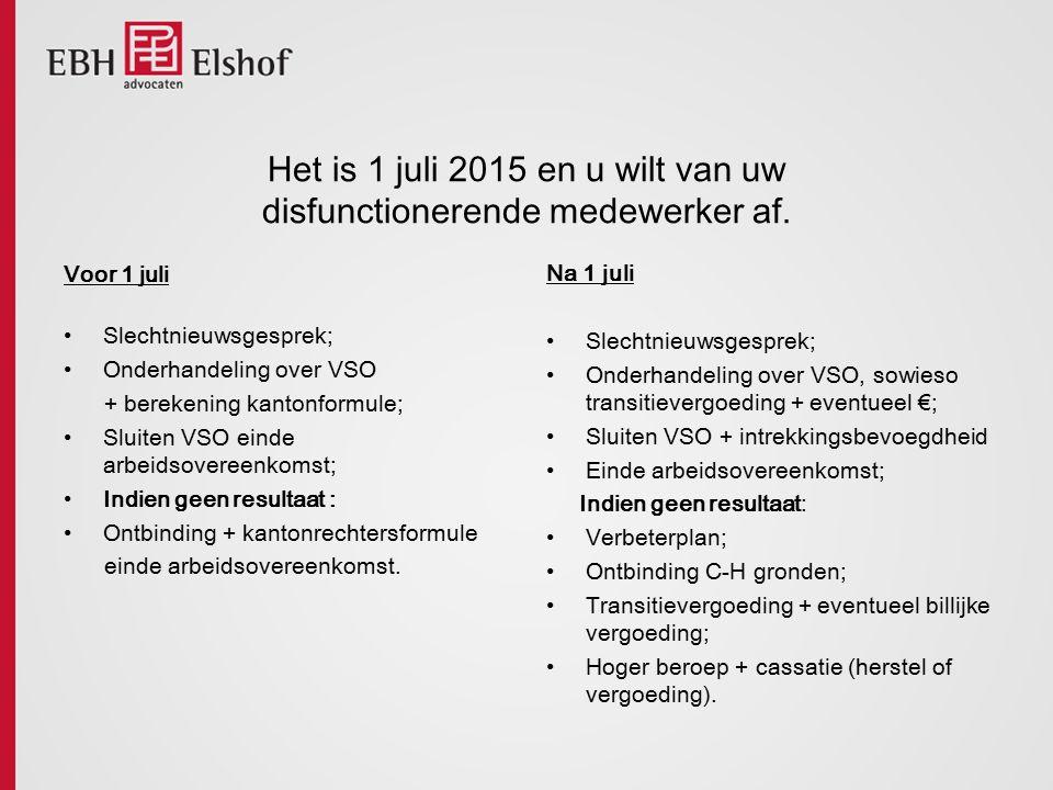 Het is 1 juli 2015 en u wilt van uw disfunctionerende medewerker af.
