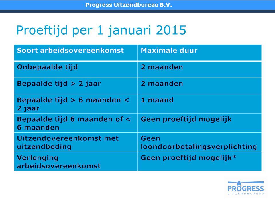 Proeftijd per 1 januari 2015 Soort arbeidsovereenkomst Maximale duur