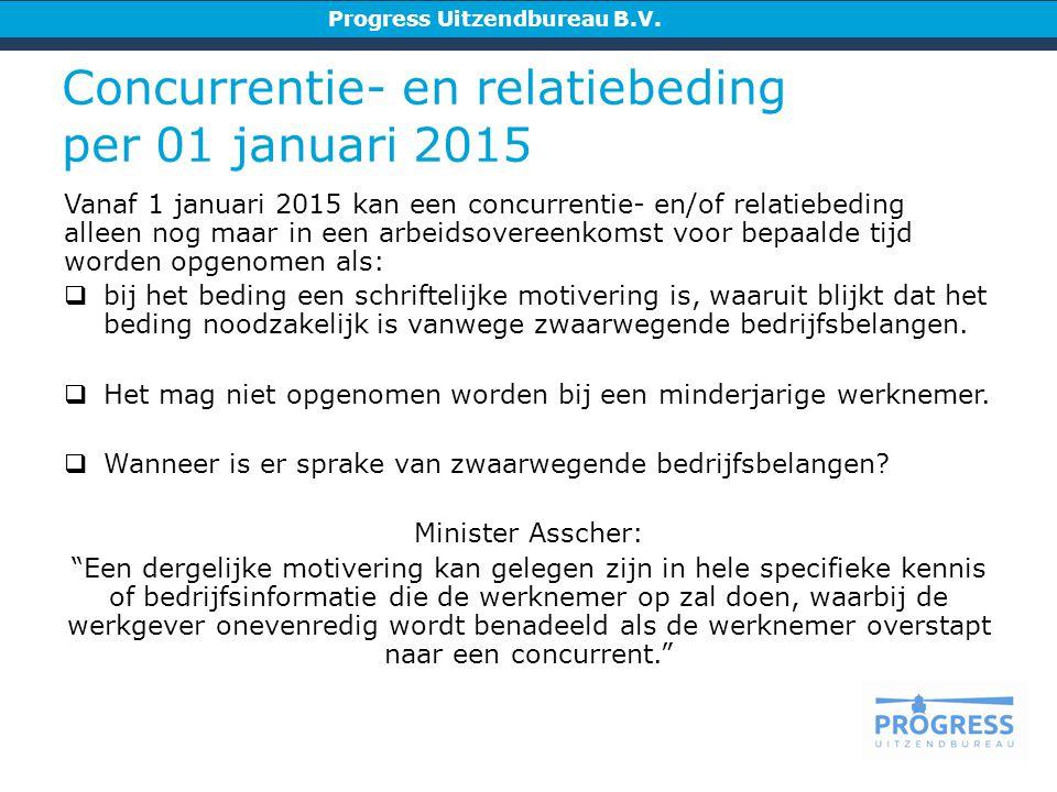 Concurrentie- en relatiebeding per 01 januari 2015