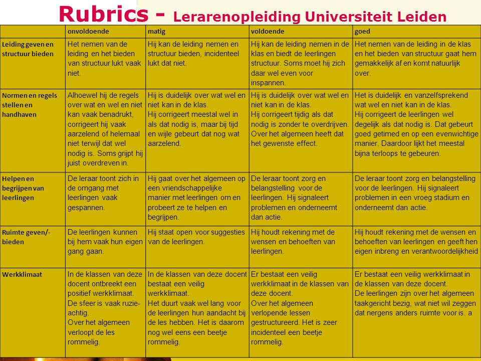 Rubrics - Lerarenopleiding Universiteit Leiden