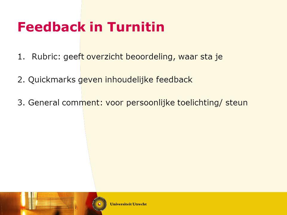 Feedback in Turnitin Rubric: geeft overzicht beoordeling, waar sta je