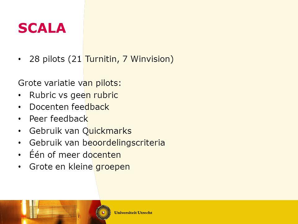 SCALA 28 pilots (21 Turnitin, 7 Winvision) Grote variatie van pilots: