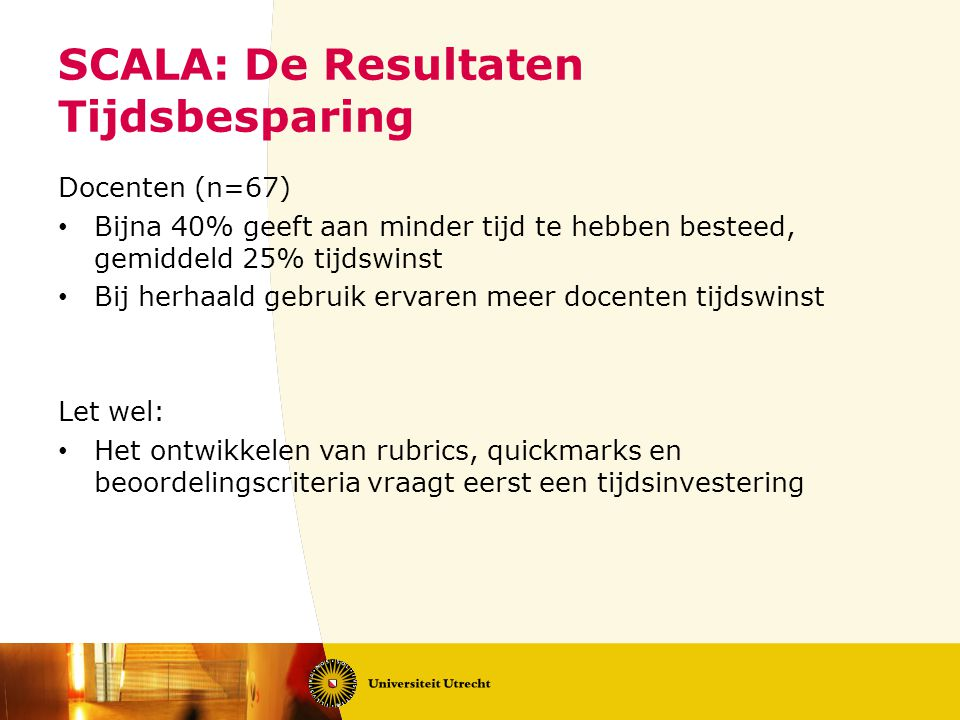 SCALA: De Resultaten Tijdsbesparing