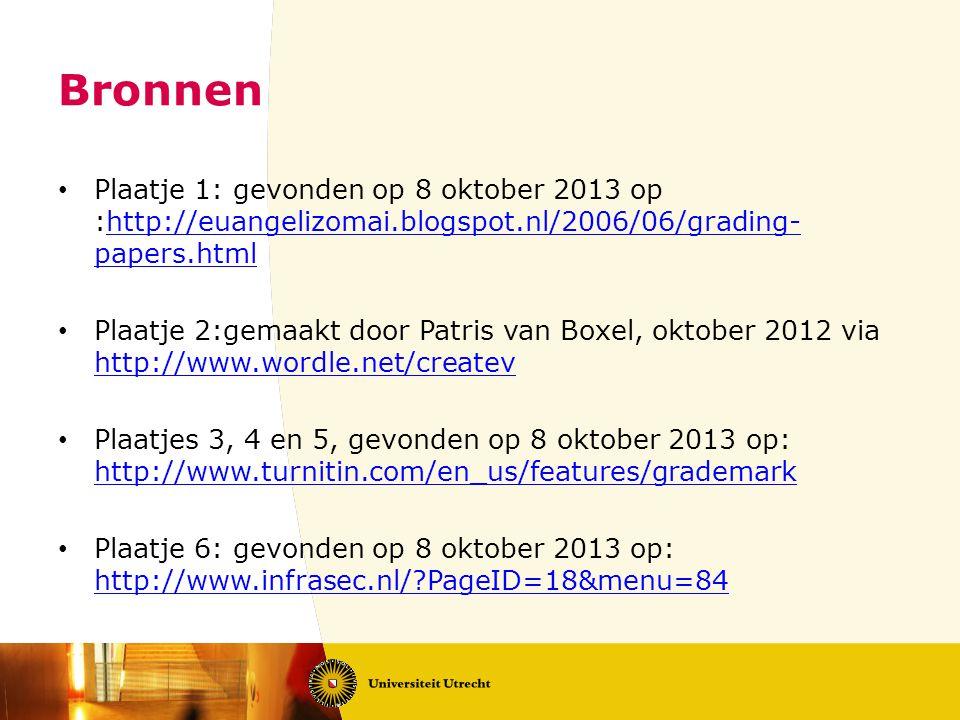 Bronnen Plaatje 1: gevonden op 8 oktober 2013 op :http://euangelizomai.blogspot.nl/2006/06/grading-papers.html.