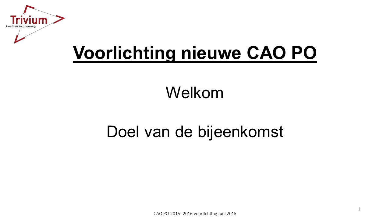 Voorlichting nieuwe CAO PO