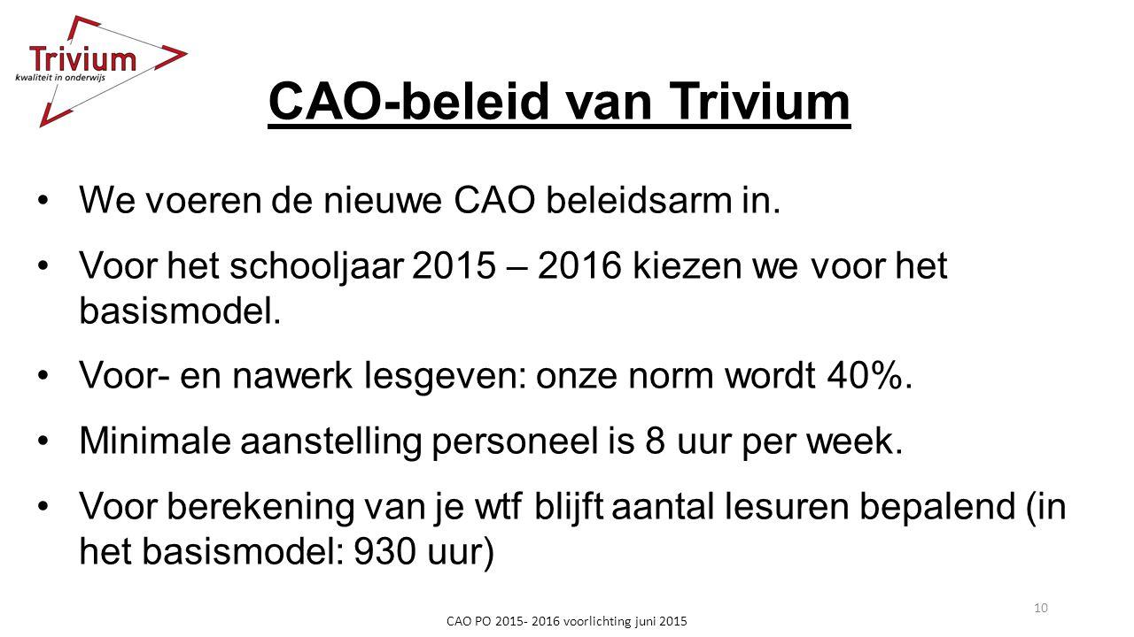 CAO-beleid van Trivium