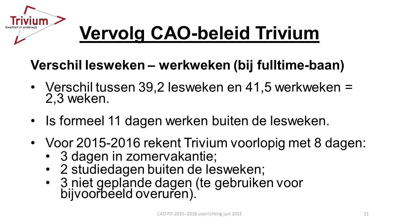 Vervolg CAO-beleid Trivium