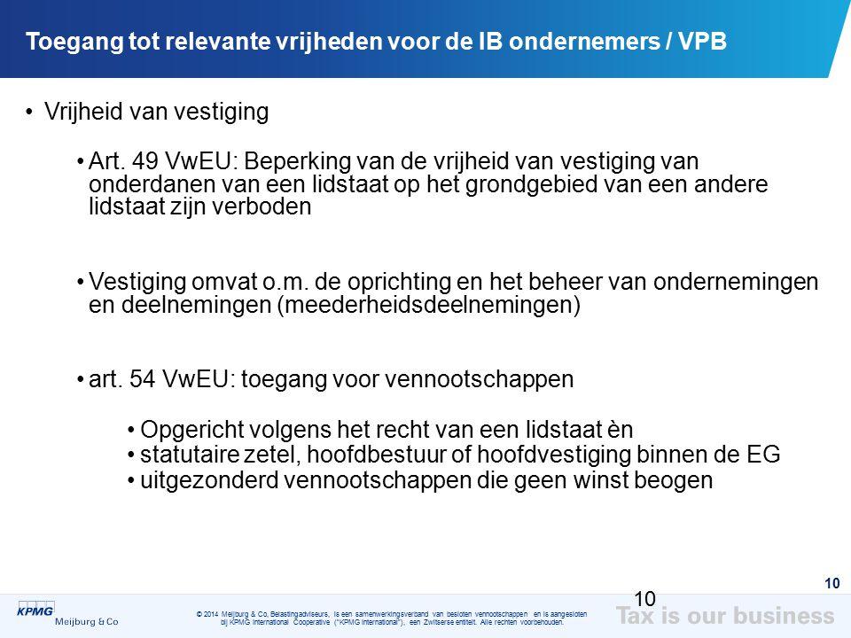 Toegang tot relevante vrijheden voor de IB ondernemers / VPB