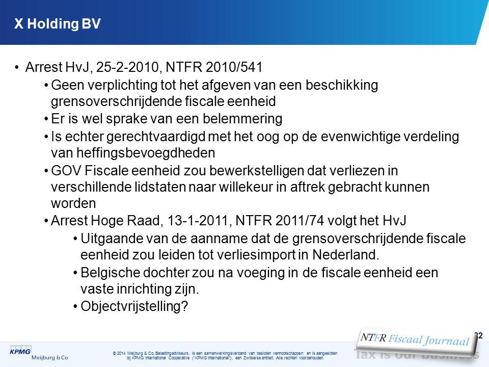 X Holding BV Arrest HvJ, 25-2-2010, NTFR 2010/541. Geen verplichting tot het afgeven van een beschikking grensoverschrijdende fiscale eenheid.