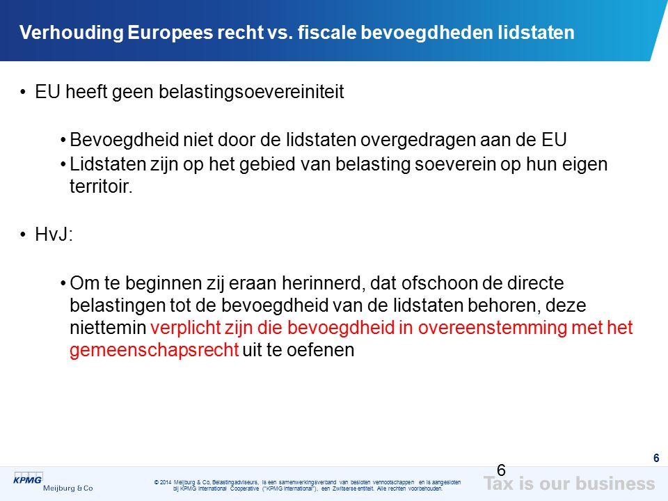 Verhouding Europees recht vs. fiscale bevoegdheden lidstaten