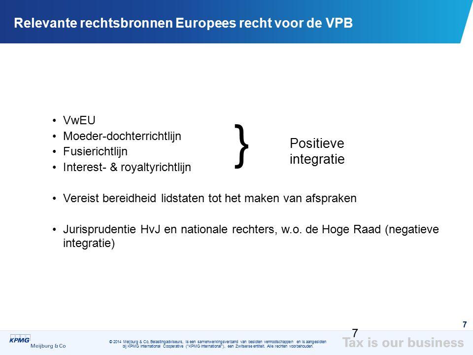 Relevante rechtsbronnen Europees recht voor de VPB