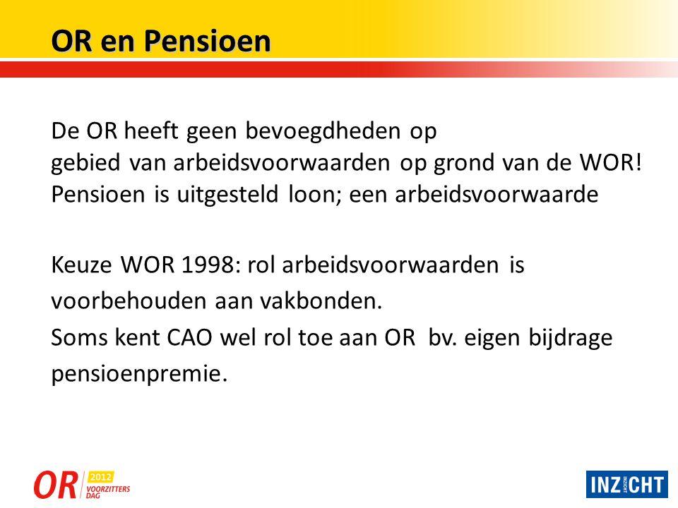 OR en Pensioen De OR heeft geen bevoegdheden op
