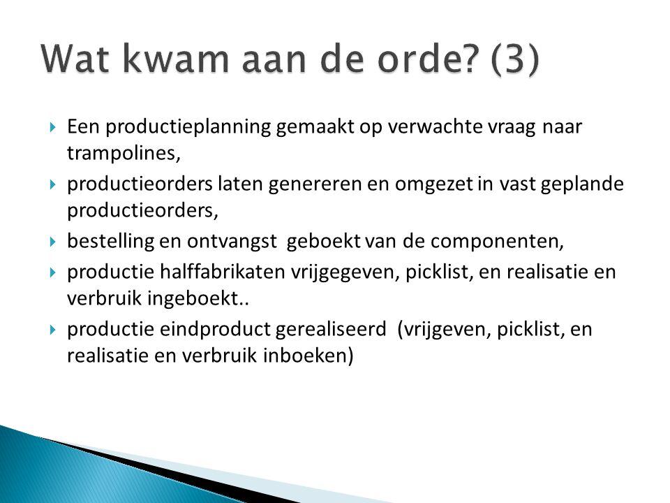 Wat kwam aan de orde (3) Een productieplanning gemaakt op verwachte vraag naar trampolines,