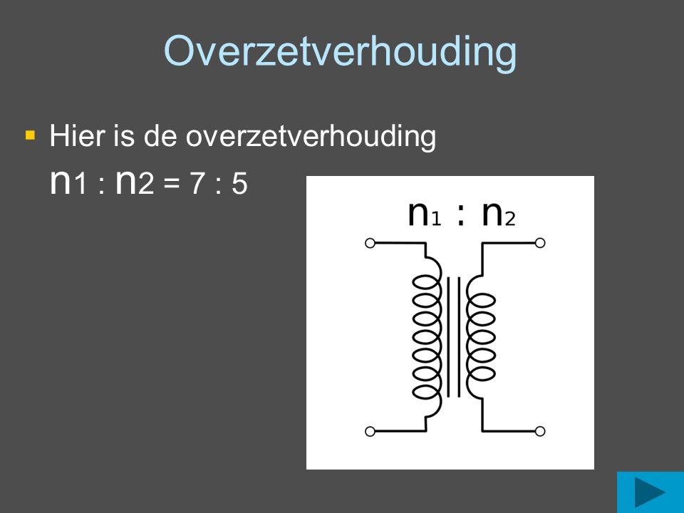 Overzetverhouding Hier is de overzetverhouding n1 : n2 = 7 : 5
