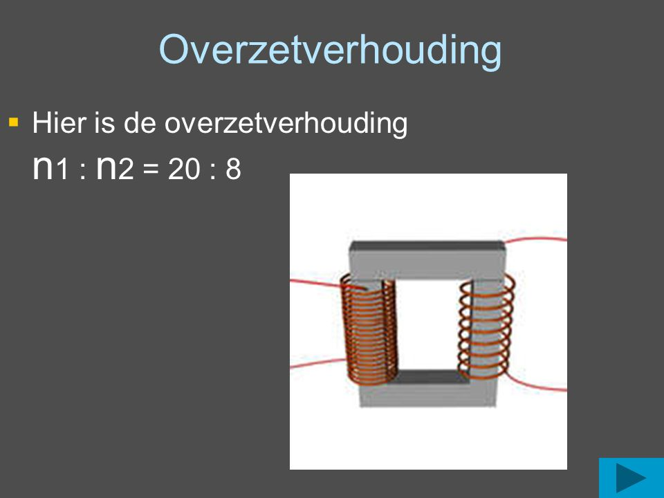 Overzetverhouding Hier is de overzetverhouding n1 : n2 = 20 : 8