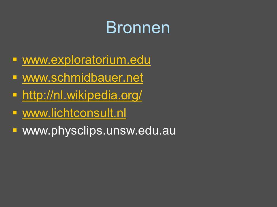 Bronnen www.exploratorium.edu www.schmidbauer.net