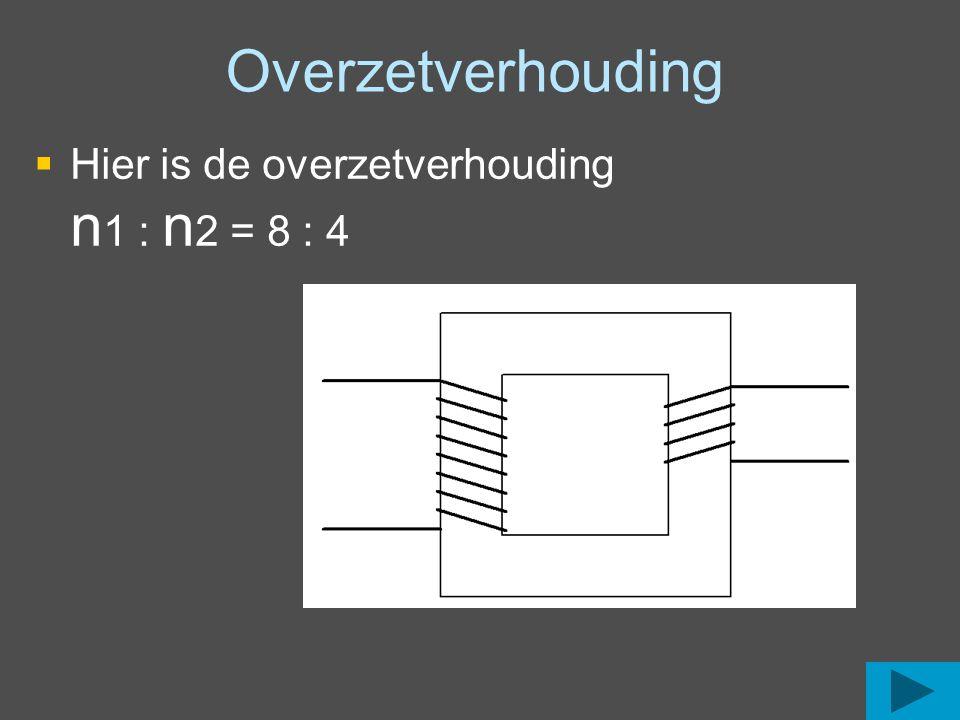 Overzetverhouding Hier is de overzetverhouding n1 : n2 = 8 : 4
